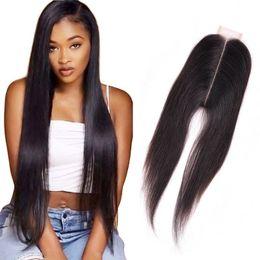 Vente en gros Cheveux Humains Malaisiens 2X6 Fermeture de Dentelle Partie Milieu Droite Vierge Cheveux 2 Par 6 Fermeture de Dentelle 8-20inch Soyeux Droite
