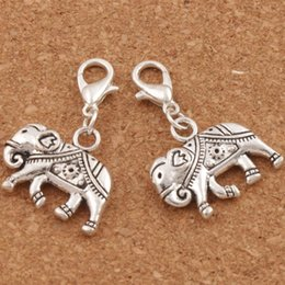 Wholesale thai animals for sale – custom 75pcs Royal Thai Elephant Clasp European Lobster Trigger Clip On Charm Beads x31mm Antique Silver C1183