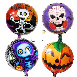Round Skull NZ - 18 inch skull Halloween foil balloons party decorations round air foil balons classic Kid toys Halloween balloons