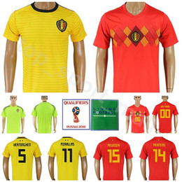 Belgium Soccer Jersey Men 2018 World Cup 14 MERTENS 15 MEUNIER 5 VERTONGHEN  11 CARRASCO Football Shirt Kits Custom 21 BATSHUAYI 19 DEMBELE 13226edbb