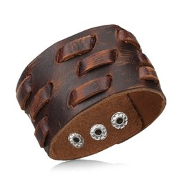 Wholesale Handmade Personality Retro Genuine Leather Woven Charm Bracelet Men Vintage Braided Bracelets Bangles Male Jewelry