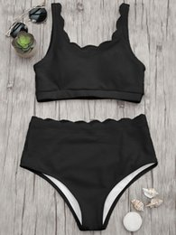 New high waisted swimwear online shopping - Cotton New High Waisted Women Swimsuit Scalloped Bralette Bikini Set Swimwear Solid Color Beach Bathing Suit Summer