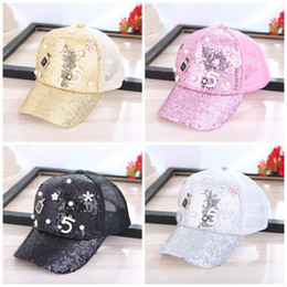 Candy baseball Caps online shopping - High End Mesh Hats Popular Candy Colors Women Baseball Cap With Sequins Pearl Flower Casquette New Arrival dq BB