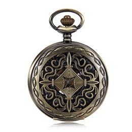 chinese watch alloy Australia - Elegant Wind Up Mechanical Skeleton Mens Pocket Watch Bronze Tone Chinese knot Case Black Dial w Chain relogio de bolso New