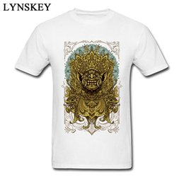 Blue Print Pictures NZ - 2018 Men Tees Balinese Barong Reanimation Delicate Design Picture Print T-shirt For Male 100% Cotton Streetwear