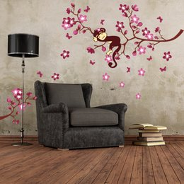 $enCountryForm.capitalKeyWord NZ - Monkey Pink Flower Branch Blossom Tree Wall Stickers PVC Decals For Kids Baby Nursery Decor Decorative Sticker Art Mural