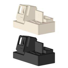3-em-1 rapidamente doca estação de carregador de suporte de suporte de estante de silicone para a apple iphone assistir airpods