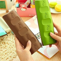 $enCountryForm.capitalKeyWord Canada - New Fashion Silicone Chocolate Style Pencil Pen Case Cosmetic Bag Coin Purse Makeup Storage Bags School Prize Kid Gift