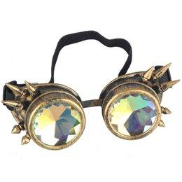Venta al por mayor de Cool Punk Gafas Caleidoscopio Gafas Hombres Mujeres Fiesta Hippie Gafas de sol Steampunk Gafas góticas Gafas de sol redondas Lente de colores