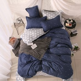 Dark Linen Sheets NZ - Home textile Autumn bedding set dark blue shining duvet cover stripe bed linen set Geometric flat sheet queen bed banana