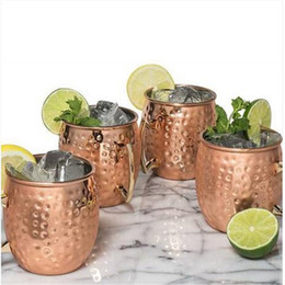 hot mugs Canada - Free shipping Hot sales Kitchen Dining & Bar 4pcs Stainless Steel Moscow Mule Mug Cup Copper Plated Drinking Hammered Mug