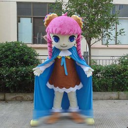 Blue Cotton Cloak Australia - Beautiful Sweetheart cloak girl Walking Cartoon Mascot Costume Halloween Party Adult Size A+