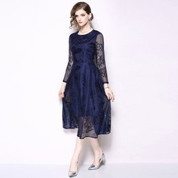 $enCountryForm.capitalKeyWord Canada - Party Lace Prom Gowns for Women Long Sleeve Tunic Dress Vintage Elegant Casual A Line Dresses