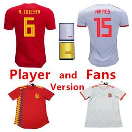 59e4189c5 camisetas de futbol 2018 Spain Soccer Jersey World Cup INIESTA RAMOS MORATA  ISCO national Football Shirt SILVA TORRES Camisa maillot de foot