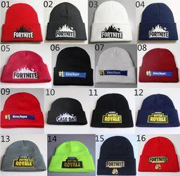 Fortnite Hats 23 стиля Fortnite Beanies Fortnite Battle Трикотажная шляпа Хип-хоп Вышивка Трикотажные шапки Подросток Зимний теплый череп Beanies 172