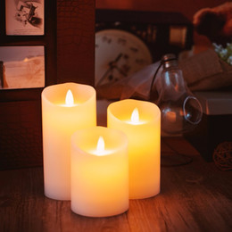 $enCountryForm.capitalKeyWord Australia - wholesale 3+4+5 inch 3pcs set Ivory Flameless Moving Wick LED Mini Candles with Timer and Remote