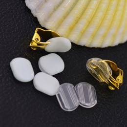 200pcs 8*10.5mm White Clear Plastic Anti-pain pad Ear Clip Anti-pain DIY Earring Finding on Sale