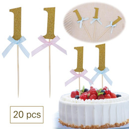 $enCountryForm.capitalKeyWord Australia - 20pcs Glitter Number 1 Happy First Birthday Cupcake Toppers 1st Baby Boy Girl the First Birthday Cake Decoration Tools 1st Baby