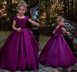 Discount princes dresses - Vintage Purple A Line Prince Girls Pageant Dresses Back Big Bow Zipper Floor Length Pageant Party Gowns Custom MAde