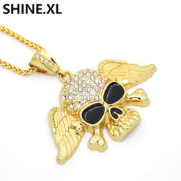 skull wing pendants Canada - Iced Out Alloy Gold Color Skull Pendant Necklace For Man Punk Wing Hip Hop Jewelry Gift