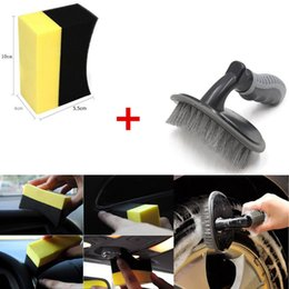 Wholesale 2018 Car Motorcycle Wheel Tire Rim Scrub Brush + U-Shape Sponge Rub Wash Cleaner Tool Free Shipping