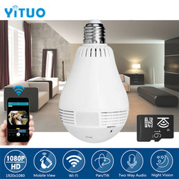 Wi fi cameras online shopping - 960P Degree Wireless IP Camera Wi fi Fisheye Bulb Camera CCTV D VR Camera Audio Panoramic Smart Home Security YITUO