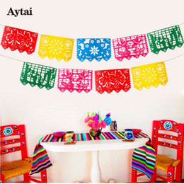 Birthday decoration flag online shopping - Aytai Mexican Banner Garland Wedding Flag Banner Decorations For Themed Party Papel Picado Halloween Birthday Party