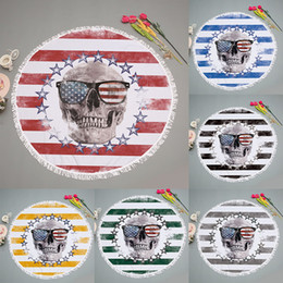 Flag swimming online shopping - 150cm New Round Beach Towel Mat USA Flag Skull Pattern Pad Microfiber Yoga Blanket Mat Bikini Outdoors Sports Swimming Bath Towel WX9