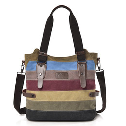 handbags colorful patchwork 2019 - Women Handbag New Casual Large Capacity Canvas Patchwork Stripes Shoulder Bag for Gilrs Crossbody Tote Colorful Day Clut