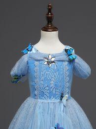 Organza Cosplay Dress NZ - Girls princess dress short slevee skirt girls tutu tulle dresses printed butterfly skirt for girl cosplay birthday clothes