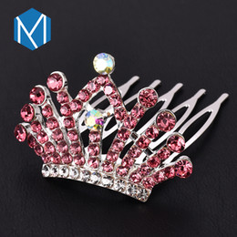 $enCountryForm.capitalKeyWord Australia - M MISM 1PC Kids Princess Colorful Rhinestones Crown Hair Combs Girls Exquisite Shining Hair Clips Accessories For Party Birthday