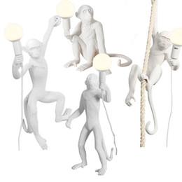 24v Pendant Australia - Factory wholesale Modern Monkey light creative design Resin Loft Vintage Hemp Rope Pendant Light dining table lighting pendant modern
