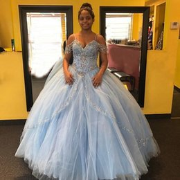 Wholesale 2018 Quinceanera Ball Gown Dresses Spaghetti Straps Beaded Crystal Tiered Corset Back Puffy Plus Size Sweet Long Party Prom Evening Gowns