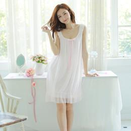 bb6ccf31e1 Vintage Nightgowns Australia - 2018 Women white pink nightgown Women  Nightgowns Cotton Sleeveless sexy nightwear vestido