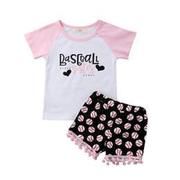 66c2883ead9ea Paño de bebés dulces online-2018 Toddler Kids Baby Girl Baseball Flower Tops  Pink T