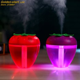 strawberry pack 2019 - 180ML Cute Strawberry Humidifier for Home Car Mist Maker Fogger with LED Light Mini USB Humidifier Air Purifier Fresher