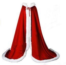 Orange Bolero UK - 2019 Beatiful Bridal Cape White Long Wedding Cloaks Faux Fur With Satin HOT Warm For Winter Wedding Bridal Wraps Bolero Hooded