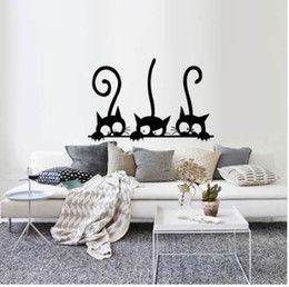 Chinese 3d Wall Stickers Australia - Three Funny Cats Animal Wall Sticker Household Room PVC Window Decals Mural DIY Decoration Removable 3D Wall Stickers Home Decor