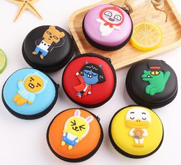 wholesale boxes packaging NZ - Japan and Korean Style Colorful fresh Cartoon casual circular coin purse Headphone package Coin storage package Storage box Hand bag