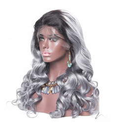 $enCountryForm.capitalKeyWord Australia - Grey Ombre Body Wave Lace Wig Brazilian Virgin Hair Two Tone Grey Dark Root Body Wave Full Lace Wig Glueless Wigs For Sale