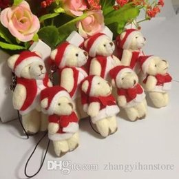 mini teddy bear bouquet NZ - Wholesale- Hot sale H-6cm plush christmas bear mini joint teddy bear ,toys for cartoon bouquet bear,keychain toys, 100 pcs lot t