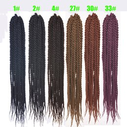 silky braiding hair 2019 - Silky Strands 24 inch Cubic Twist Crochet Hair 12Roots Pack Ombre Crochet Twist Hair Extensions Braiding Hair discount s