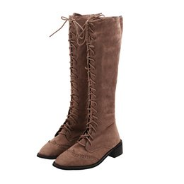Vintage Lace Up Boots UK - Ladies Vintage Flock Winter High Heels Riding Boots Women New Lace Up Bandage Long Motorcycle Boots Shoes Size 35-39