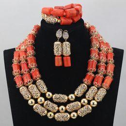 $enCountryForm.capitalKeyWord Australia - Luxurious African Orange Coral Beads Jewelry Sets Nigerian Wedding Jewelry Sets New Gold Accessories Bridal CJ765