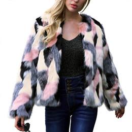 White Short Sleeve Faux Fur Australia - Women Jacket Winter Warm Colorful Piecing Faux Fur Coat Long Sleeve Shaggy Faux Fur Coat Short Cardigans Overcoat New Style D18110501