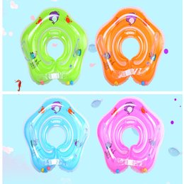 Discount baby care cartoon - Dolphin Infant Neck Float Circle for Bathing Swimming cartoon PVC Inflatable 4COLORS Baby Safety Neck circle Dual airbag