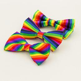 Bowties For Women Australia - Fashion Colorful Rainbow Striped Bowties For Groom Men Women Wedding Party Leisure Gravatas Cravat Bowtie Tuxedo Bow Ties