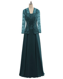 Mother Bride Portrait Dress UK - Womens Lace Mother Of The Bride Dress Chiffon Evening Prom Dress Long Formal Gown With Jacket
