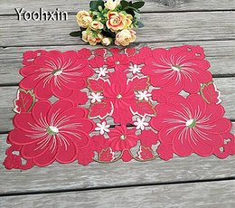 Kitchen Place Mats Australia - New Red satin table place mat cloth lace embroidery pad cup mug holder drink coaster trivet glass placemat coffee doily kitchen