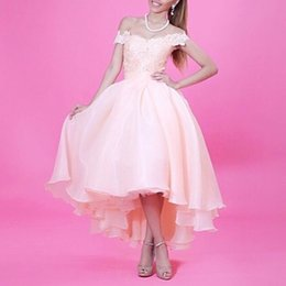HigH low print prom dress online shopping - 2018 Middle East High Low Dress Lace Appliques Tea Length Arabic Prom Dresses Organza Pink Prom Dress Dubai Party Evening Gowns